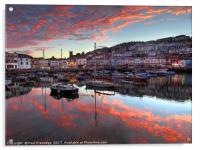 Brixham Sunset in August                       , Acrylic Print