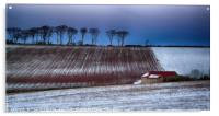 Red Roofed Barn in Snow, Acrylic Print