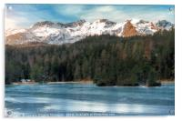 Frozen lake and snow-capped mountains, Acrylic Print