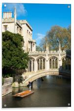 Punting under the Bridge of Sighs, Acrylic Print