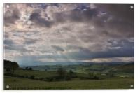 Crepuscular rays over Welsh Hills, Acrylic Print