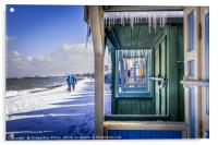 Icicles through the Beach Huts on a Winters day, Acrylic Print