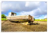Exposed underside of abandoned boat, Acrylic Print