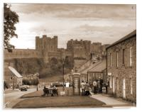 Bamburgh Village and Castle - Sepia, Acrylic Print