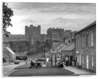 Bamburgh Village and Castle - Black & White, Acrylic Print