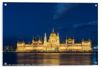 The parliament building at sunset in Budapest., Acrylic Print