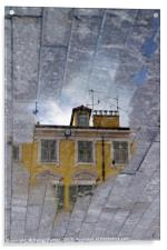 Mirror world - a yellow house in Nice, France, Acrylic Print