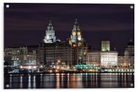 Liverpool Skyline at Night, Acrylic Print