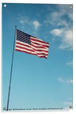 Americav flag with clouds and blue sky background, Acrylic Print