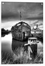 The sand barge tied up, Acrylic Print