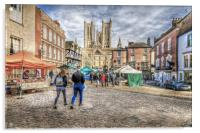 Lincoln Market and Cathedral, Acrylic Print