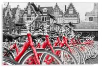 Red Bikes in Ghent, Acrylic Print