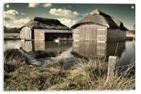 Thatched Boat Sheds, Acrylic Print