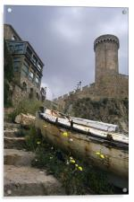 Steps to the old castle at Tossa de Mar, Acrylic Print