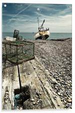 Lobster pot and fishing boat, Acrylic Print