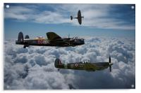 Lancaster with Spitfire escort, Acrylic Print