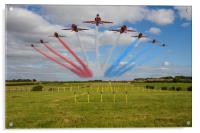 Red Arrows running in at Brize, Acrylic Print