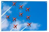 Red Arrows Feather Formation, Acrylic Print