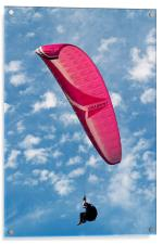 Red Canopy Paraglider, Acrylic Print