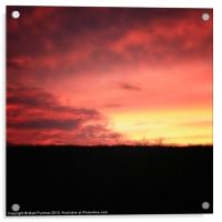 Beautiful Vibrant Red and Pink Rural Sunset, Acrylic Print