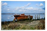 Rusty Wreck on River Medway, Acrylic Print