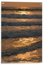 Waves Rolling in at Sunset Benaulim, Goa, India, Acrylic Print
