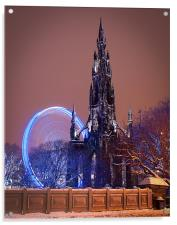 Scott Monument during the winter festival, Acrylic Print