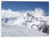Bansko red slope from chairlift, Acrylic Print
