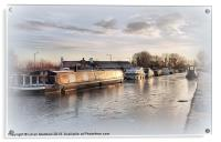 Sunset on The Frozen Lancaster Canal., Acrylic Print