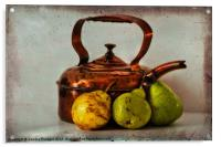Copper kettle with pears, Acrylic Print