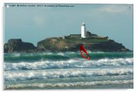 SURFER AT THE LIGHTHOUSE , Acrylic Print