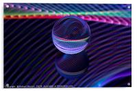 Abstract art Checkered lines in the glass ball, Acrylic Print