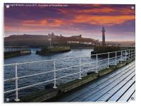 Whitby Harbour Sunset, Acrylic Print