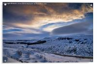Winter over Higger Tor from Burbage Bridge, Acrylic Print