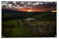 Sundown over the Roman Wall at Sewingshields Crag, Acrylic Print