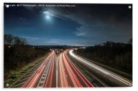 Motorway Sign Coming up in the Morning Light, Acrylic Print