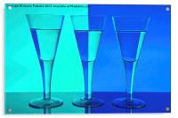 Three Wine Glasses in Blue, Acrylic Print