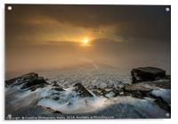 Sugar Loaf Winter Sunset, Brecon Beacons, Acrylic Print