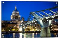 St Pauls Cathedral and the Millennium Bridge, Acrylic Print
