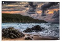 Putsborough Surfers, Acrylic Print