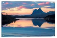 Suilven a Winter Sunset, Acrylic Print