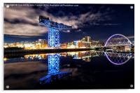 Finnieston Crane and Clyde Arc by night, Acrylic Print