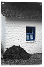 Irish Cottage with Blue Window, Acrylic Print