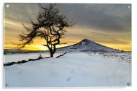 Winter Sunset Roseberry Topping Teesside, Acrylic Print