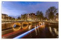 Amsterdam canal by night, Acrylic Print