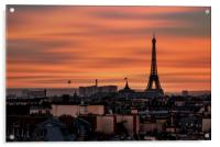 Red sunset on the Eiffel tower, Acrylic Print