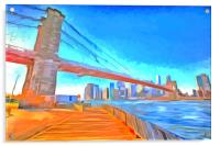 Brooklyn Bridge Pop Art, Acrylic Print