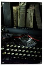 Vintage Typewriter and Old Books, Acrylic Print