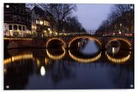 Cycle Light Trails in Amsterdam, Acrylic Print