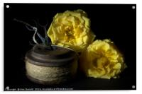 Two Yellow Roses and a Reel of String, Acrylic Print